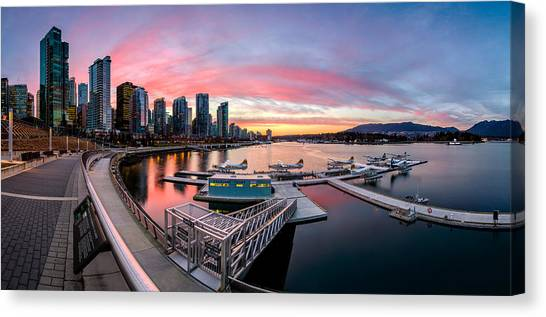 Vancouver Skyline Canvas Print - Coal Harbour Sunset by Alexis Birkill