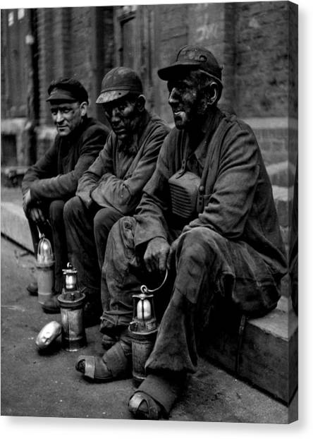 Coal Miners Dirty Job Vintage  Canvas Print by Retro Images Archive