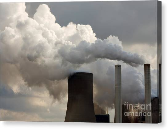 Coal Power Station Blasting Away Canvas Print