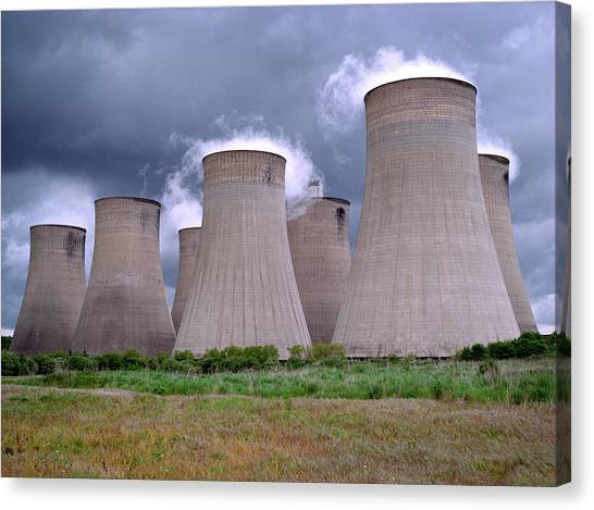 Rainclouds Canvas Print - Coal Power Station by Robert Brook/science Photo Library