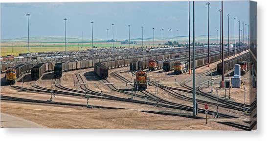 Climate Change Canvas Print - Coal Trains In Nebraska Rail Yard by Jim West