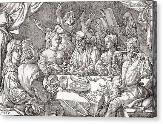 Behaviour Canvas Print - Coarse Behaviour At The Dining Table During The Renaissance Period.  After A Spanish Copper by Bridgeman Images