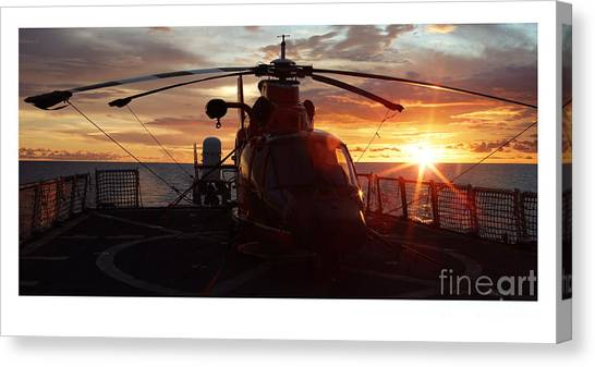 Coast Guard Canvas Print - Coast Guard Helo by Mike Baltzgar