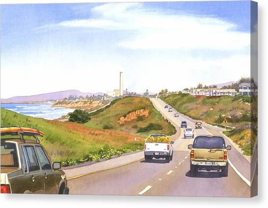 Pacific Coast Canvas Print - Coast Hwy 101 Carlsbad California by Mary Helmreich