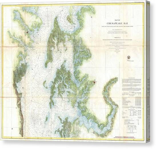 Coast Survey Chart Or Map Of The Chesapeake Bay Canvas Print