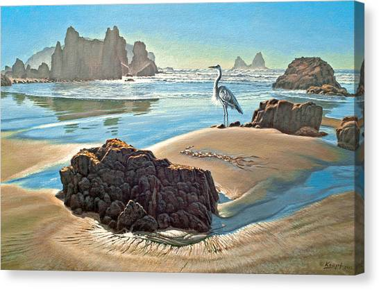 Heron Canvas Print - Coast With Great Blue Heron by Paul Krapf