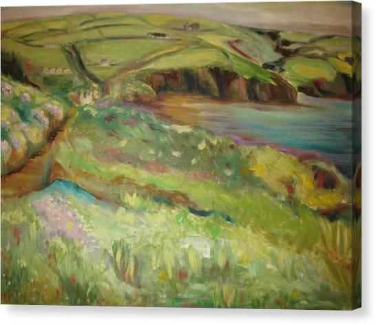 Coastal Path In Wales Canvas Print by Ellen Howell