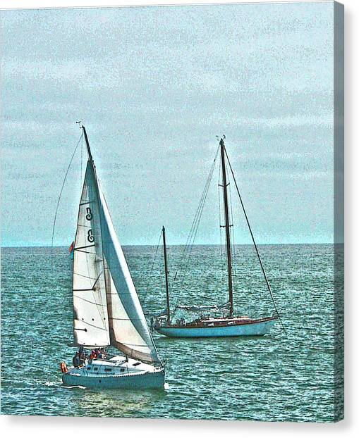 Coastal Sail Boats Canvas Print