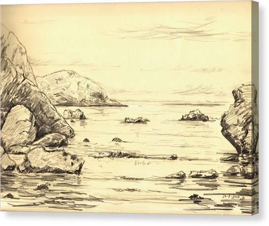 Sea Bird Canvas Print - Coastal Scene Cuerno by Juan  Bosco