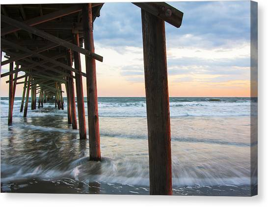 Coastal Sunset At Oceanana Fishing Pier Canvas Print