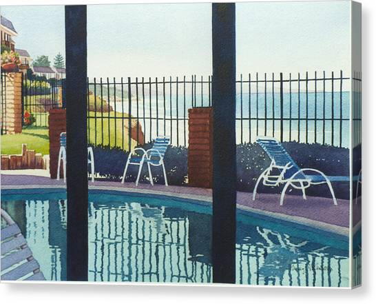 Swimming Canvas Print - Coastal Swimming Pool by Mary Helmreich
