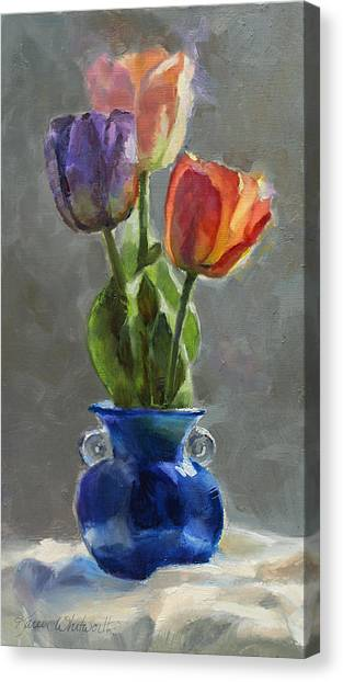 Cobalt And Tulips Still Life Painting Canvas Print