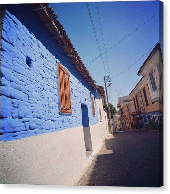 Street Scenes Canvas Print - Cobalt Blue, Kusadasi, Turkey by Go Takey