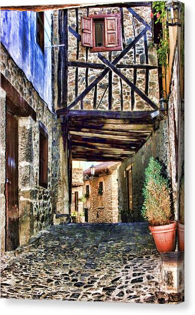 Cobble Streets Of Potes Spain By Diana Sainz Canvas Print