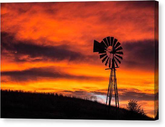 Cobblestone Windmill At Sunset Canvas Print