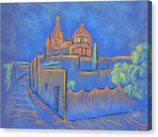 Cobblestones To The Basilica Canvas Print by Marcia Meade