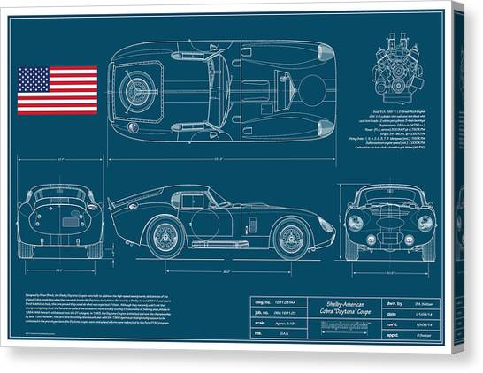Cobra Canvas Print - Cobra Daytona Coupe Blueplanprint by Douglas Switzer