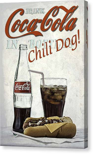 Coca-cola And Chili Dog Canvas Print
