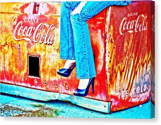 Coca-cola And Stiletto Heels Canvas Print