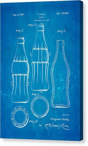 Household Canvas Print - Coca Cola Bottle Patent Art 1937 Blueprint by Ian Monk