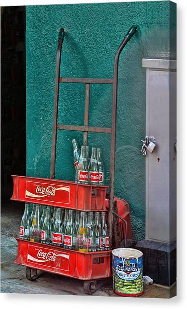 Acapulco Canvas Print - Coca Cola Cart And Bottles by Linda Phelps