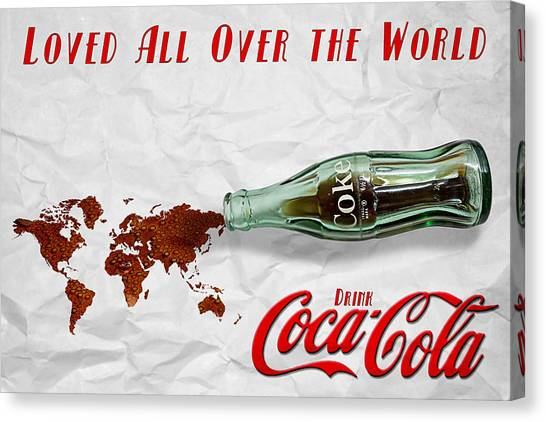 Coca Cola Loved All Over The World Canvas Print