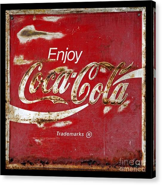 Coca Cola Vintage Rusty Sign Canvas Print