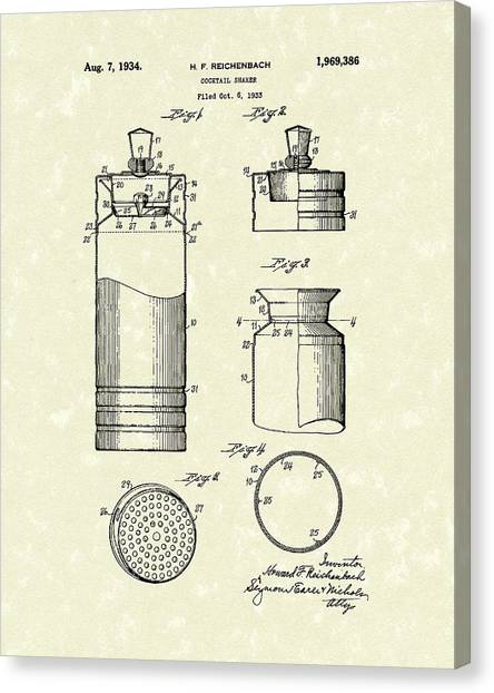 Canvas Print featuring the drawing Cocktail Shaker 1934 Patent Art by Prior Art Design