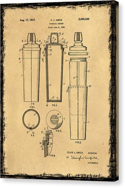 Dr. Pepper Canvas Print - Cocktail Shaker Patent 1937 by Mark Rogan