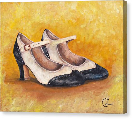 Pair Of 1920s Flappers Heels Mary Janes Canvas Print