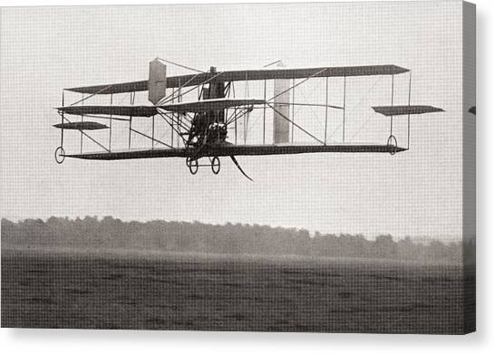 Biplane Canvas Print - Codys Biplane In The Air In 1909 by American School