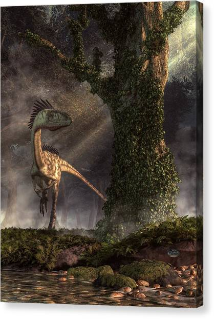 Brachiosaurus Canvas Print - Coelophysis by Daniel Eskridge