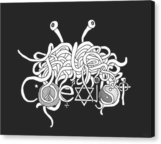 Flying Spaghetti Monster Canvas Print - Coexist  by Rylee Stearnes