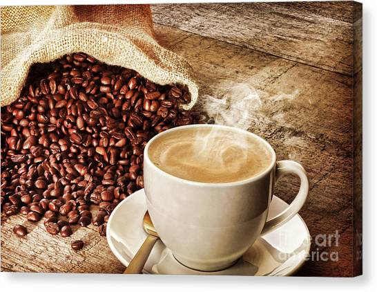 Coffee And Sack Of Coffee Beans Canvas Print