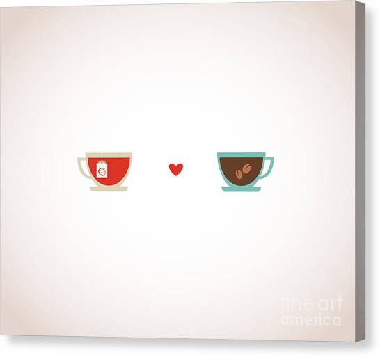 Couples Canvas Print - Coffee And Tea In Love Cups by Jennylipets