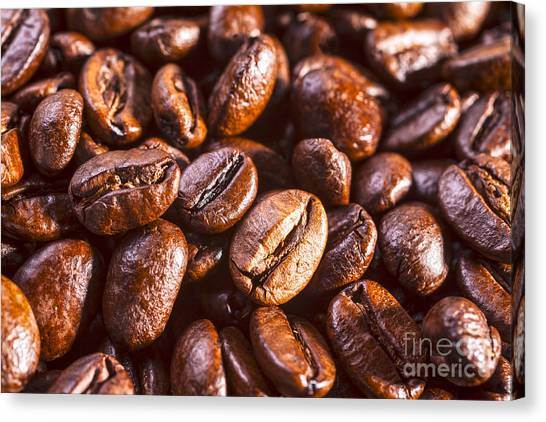 Coffee Beans Canvas Print - Coffee Beans Close-up by Colin and Linda McKie