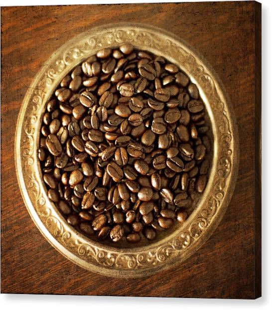 Coffee Beans On Antique Silver Platter Canvas Print