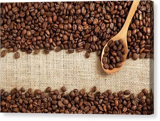 Coffee Beans On Burlap Canvas Print