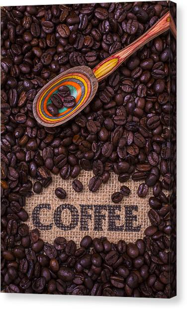 Coffee Beans Canvas Print - Coffee Beans With Spoon by Garry Gay