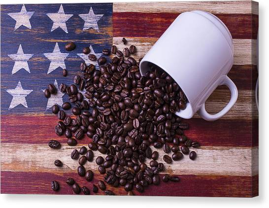 Coffee Beans Canvas Print - Coffee Cup On American Flag by Garry Gay