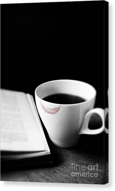 Coffee Cup With Lipstick Mark And Book Canvas Print