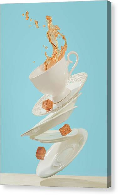 Saucer Canvas Print - Coffee For A Stage Magician by Dina Belenko