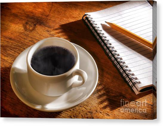 Counter Canvas Print - Coffee For The Writer by Olivier Le Queinec