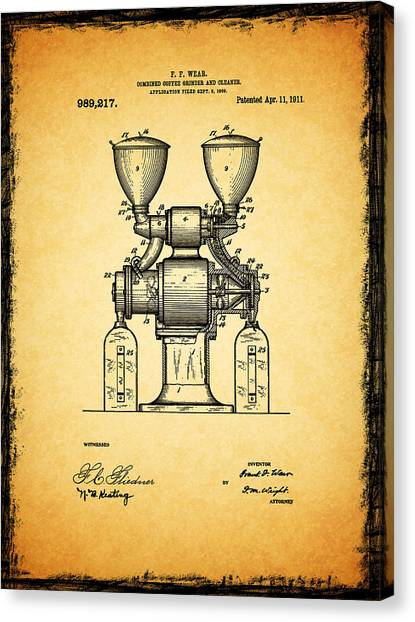 Coffee Plant Canvas Print - Coffee Grinder Patent 1911 by Mark Rogan