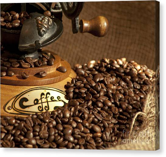 Coffee Grinder With Beans Canvas Print