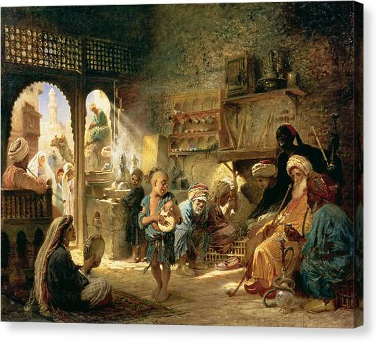 Tambourines Canvas Print - Coffee House In Cairo, 1870s by Konstantin Egorovich Makovsky