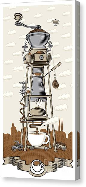 Factories Canvas Print - Coffee House In The City by Paseven