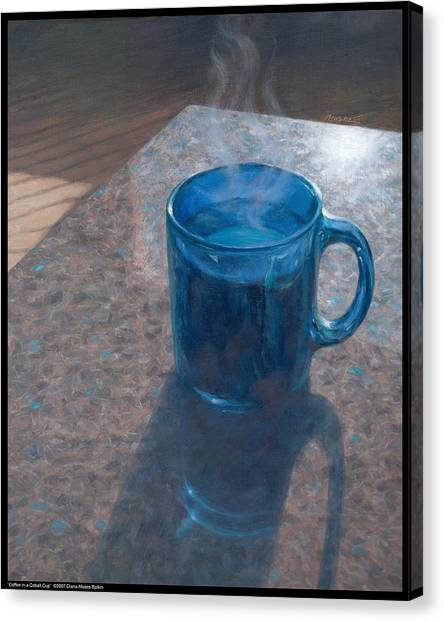 Coffee In A Cobalt Cup Canvas Print