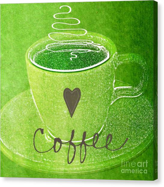 Heart Canvas Print - Coffee by Linda Woods