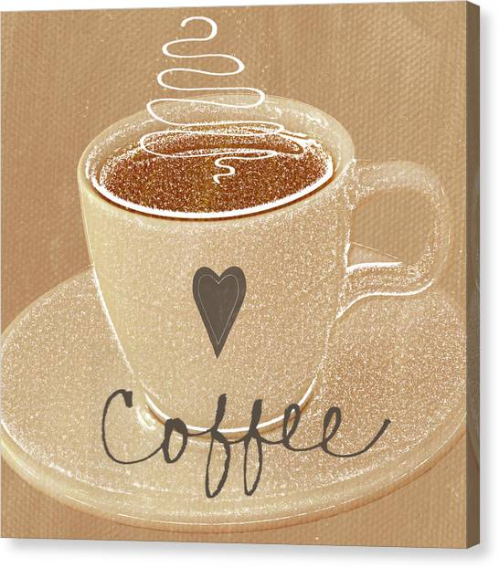 Coffee Canvas Print - Coffee Love In Mocha by Linda Woods